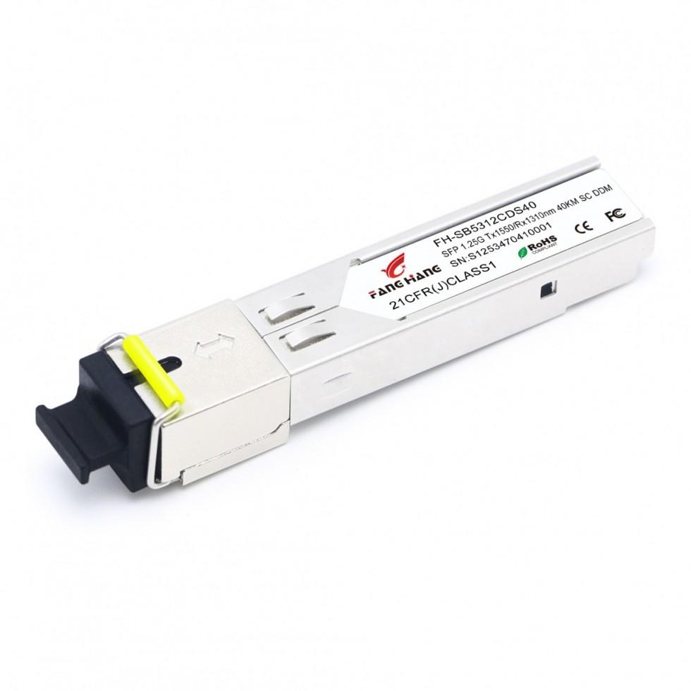 FH-SB5312CDS40 | SFP 1,25 GE модуль, 40 км, SM, 1 волокно, TX/RX 1550/1310 SC, DDM