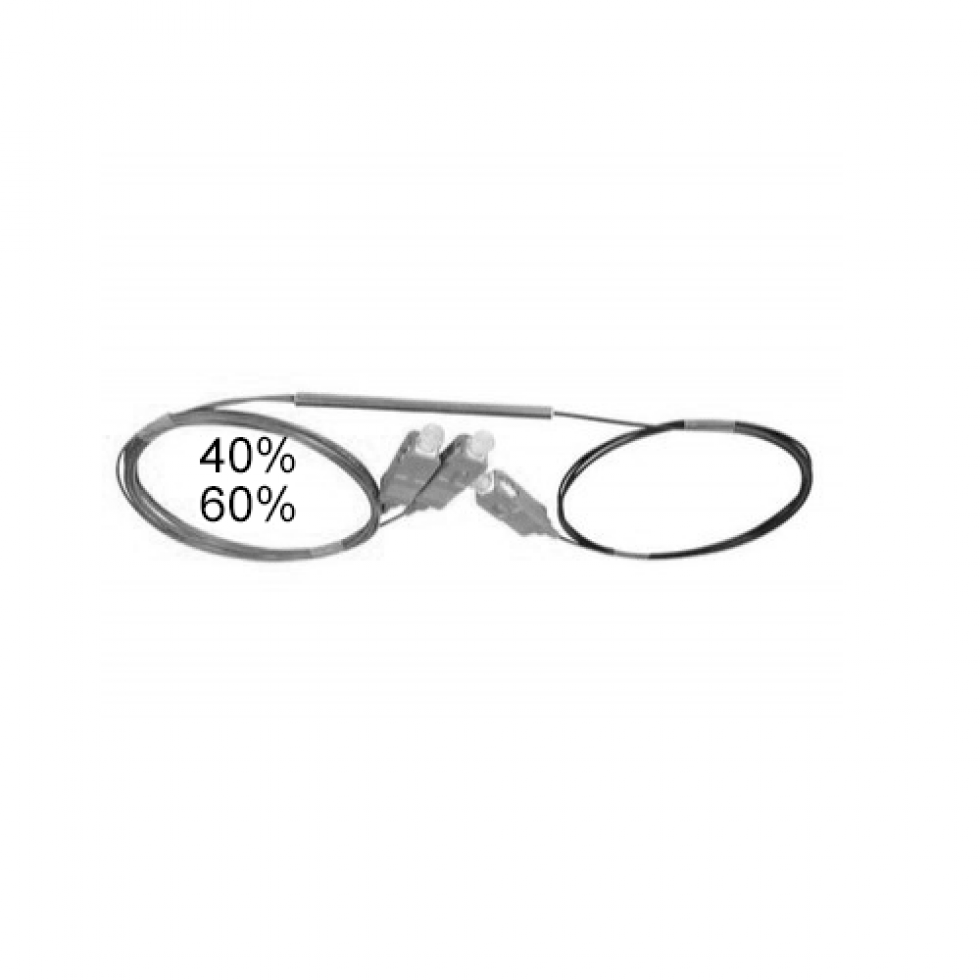 Оптический сплиттер FBT 1x2 40/60 0.9мм